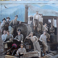 Mill Street Logging Scene (Painting)